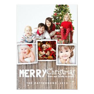 国の素朴な木製のメリークリスマスの写真カード 12.7 X 17.8 インビテーションカード