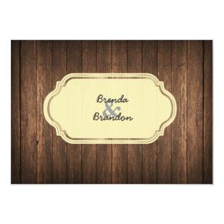 国の素朴な木製の結婚式招待状 カード