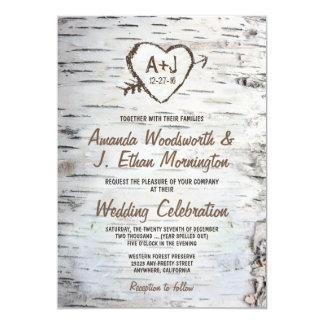 国の素朴な樺の木の吠え声の結婚式招待状 12.7 X 17.8 インビテーションカード