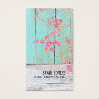 国の素朴な花のターコイズ木 名刺