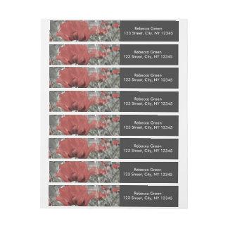 国の自然の景色の赤いケシの花 ラップアラウンド宛名ラベル