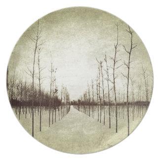 国の草原の田園景色の冬の木 プレート
