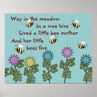 国の蜂および花の童謡 ポスター