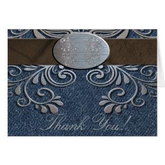 国の西部のデニムはメッセージカード感謝していしています ノートカード