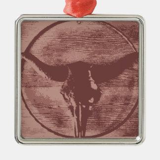 国の西部の長角牛のBullのスカルのカウボーイのギフト メタルオーナメント