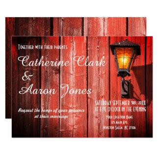 国の赤い納屋の結婚式招待状 カード