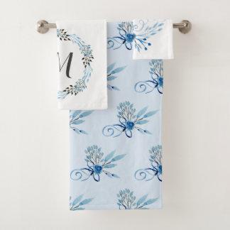 国の青い水彩画の花柄 バスタオルセット
