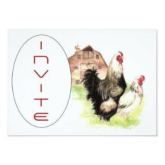 国の鶏及びオンドリの納屋場面カスタムな招待 カード