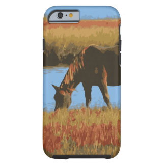 国のiPhone6ケースを牧草を食べている馬 ケース