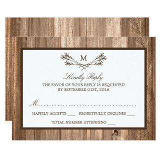 国のRSVPを結婚する素朴なモノグラム枝及び木 カード