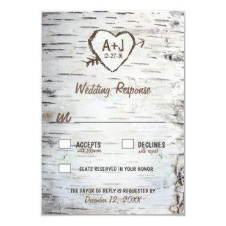 国のRSVPカードを結婚する素朴な樺の木の吠え声 カード