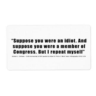 国会議員はサミュエルL. Clemensによって馬鹿の引用文行います ラベル