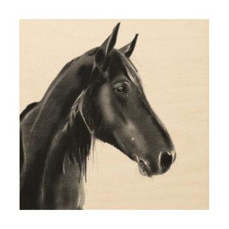 国内ウマ科のな動物の馬のポートレートのスケッチ ウッドウォールアート