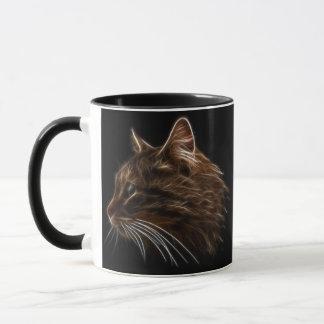 国内猫の子ネコの頭部のフラクタルのプロフィール マグカップ