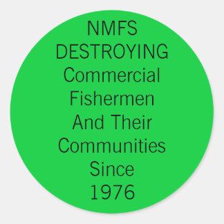 国民の海洋漁業サービスは破壊します 丸形シール・ステッカー