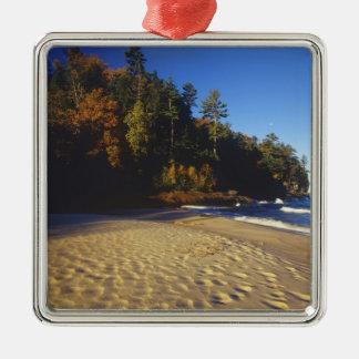 国民描かれた石の抗夫のビーチ シルバーカラー正方形オーナメント