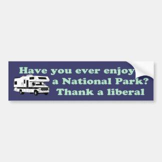 国立公園のために自由主義者を感謝していして下さい バンパーステッカー