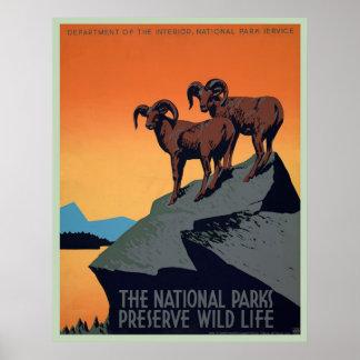 国立公園のヴィンテージポスター ポスター