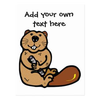 国際的なビーバー日の漫画のビーバー ポストカード