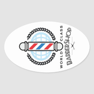 国際的レベルの理髪店 楕円形シール