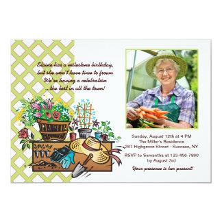 園芸工具の写真の招待状 カード