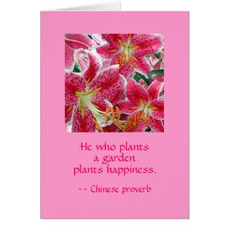 園芸植物の幸福を植える彼。 メッセージカード カード