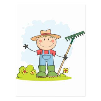 園芸男の子の耕作 ポストカード