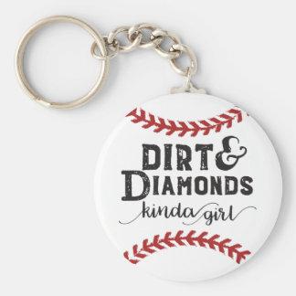 土およびダイヤモンドの種類の女の子のソフトボールのテーマ キーホルダー