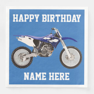 土のバイクの青い誕生日のスポーツのナプキン