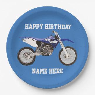 土のバイクの青い誕生日のスポーツの紙皿 ペーパープレート