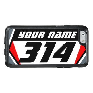土のバイクMXの競争数-赤黒い数 オッターボックスiPhone 6/6Sケース