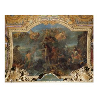 土地と戦いを始める王ルイ14世 ポストカード