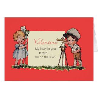 土地の検査官のヴィンテージのバレンタインカード カード
