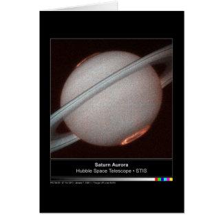 土星のオーロラのハッブルの望遠鏡の写真 カード