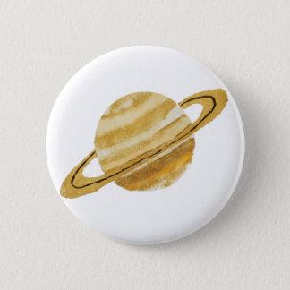 土星の惑星の水彩画の円形ボタン 5.7CM 丸型バッジ