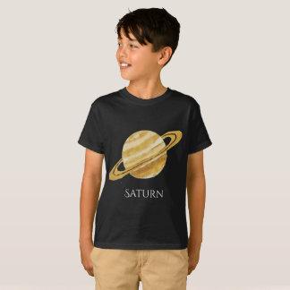 土星の惑星の水彩画の子供のT Tシャツ
