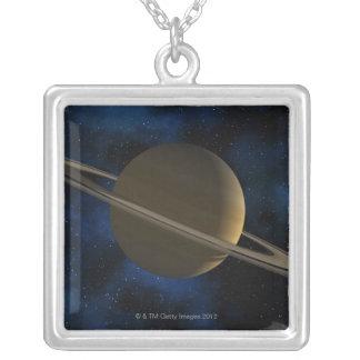 土星の惑星 シルバープレートネックレス