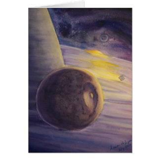 土星の月そしてリングや輪 カード