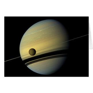 土星及びタイタンのCassiniの宇宙の写真 カード