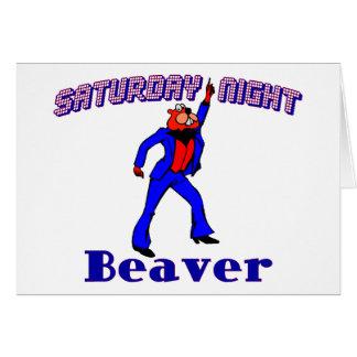 土曜の夜のディスコのビーバー グリーティングカード