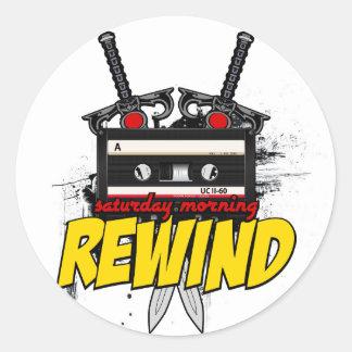 土曜日の朝のリワインド: 漫画のポッドキャストのステッカー ラウンドシール