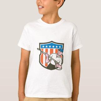 圧力洗濯機水発破工米国の旗の漫画 Tシャツ