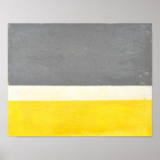 「圧搾」の灰色および黄色の抽象美術 ポスター