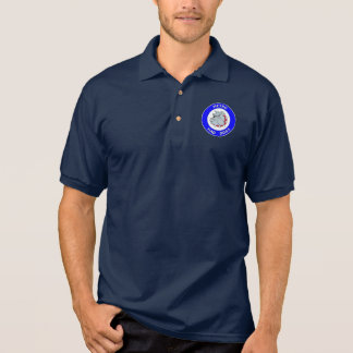 地下鉄の気違い犬- Gildanジャージーのポロシャツ-海軍 ポロシャツ