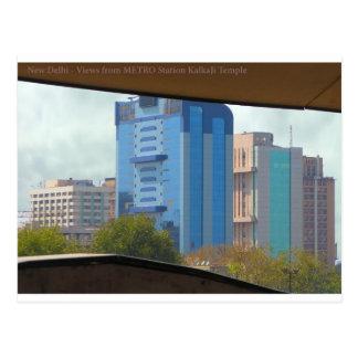 地下鉄駅からのニューデリーインドの景色の眺め ポストカード