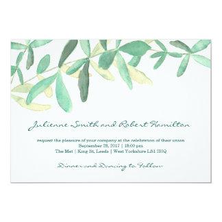 地中海のな モダンな群葉の結婚式招待状 カード