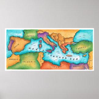 地中海の地図 ポスター