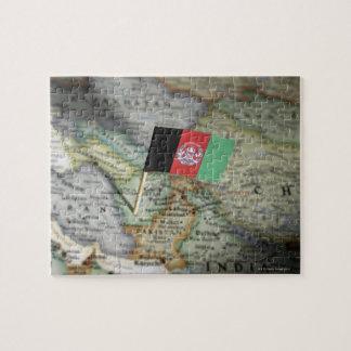 地図のアフガニスタンの旗 ジグソーパズル