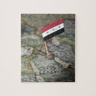 地図のイラクの旗 ジグソーパズル