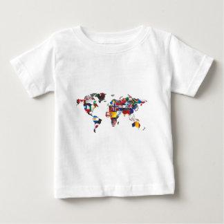 地図の世界の旗 ベビーTシャツ